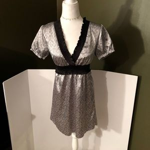 Guess Silk Black and Silver Dress Size S